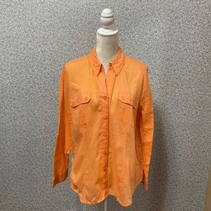 ❤️Chico's Orange Cotton Button Down Shirt 2/L❤️